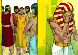 Jozef moet huilen als hij zijn broers weer terug ziet.